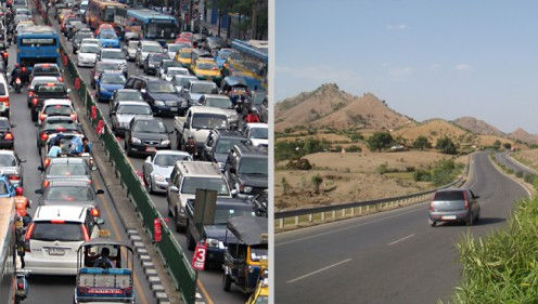 Road traffic and internet traffic analogy