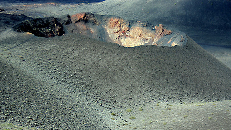 The crater of a volcano in Timanfaya Naqtional Park, Lanzarote Canary Islands
