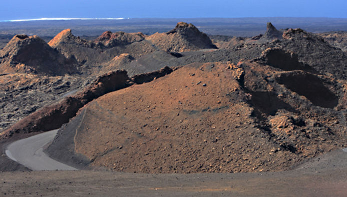 Volcanoes, cones and craters at Timanfaya National Park, Lanzarote Canary Islands