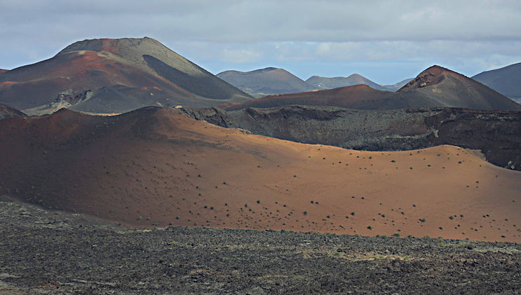 Calderas and volcanic cones in Timanfaya National Park