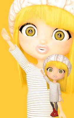 オリジナルキャラクター BIG EYES DOLL Yellow