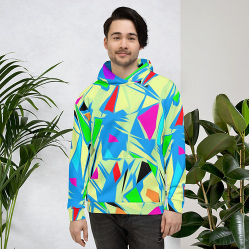 Miami Bright Yellow 80's Style Abstract Shapes Unisex Hoodie