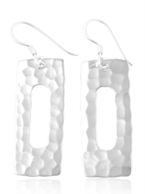 Sterling Silver hammered rectangle earring