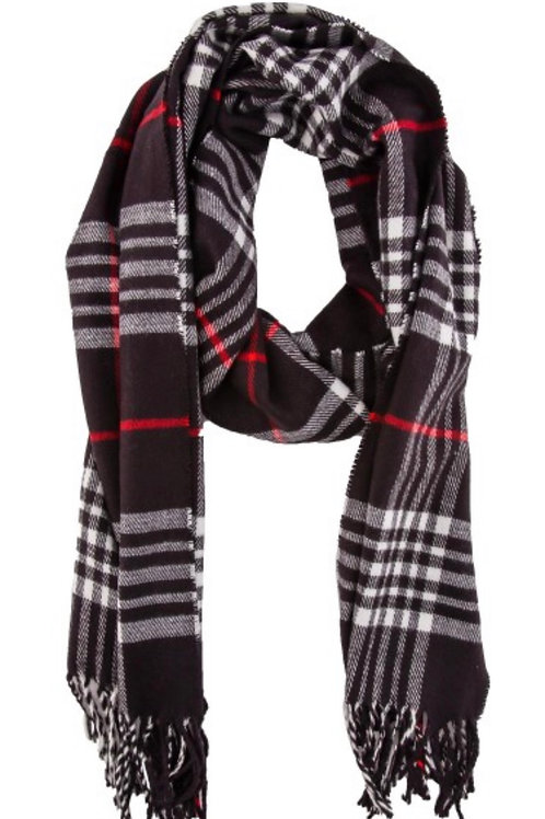 Soft long fringe scarf - blk plaid
