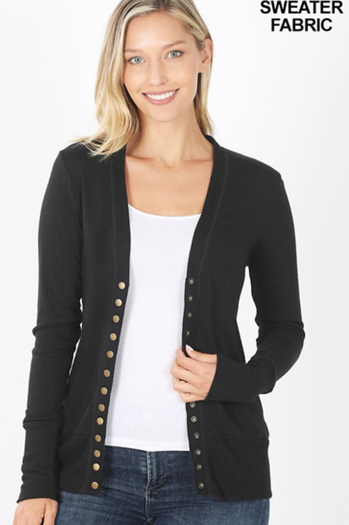 Snap button cardigan-black
