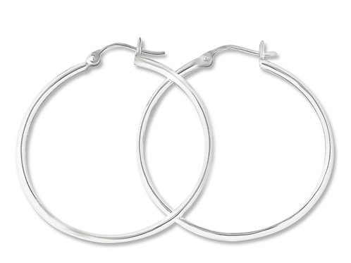 "Sterling Silver 1.5"" snap hoop earring"