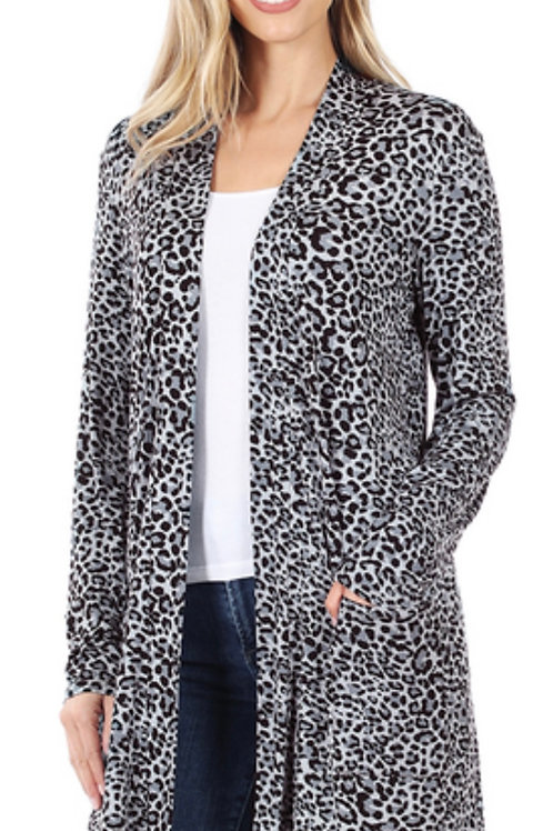 Leopard light weight mid thigh cardigan - gray blue