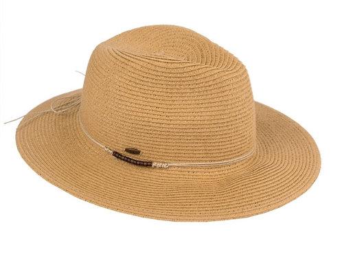 CC brand brim hat w/ leather tie