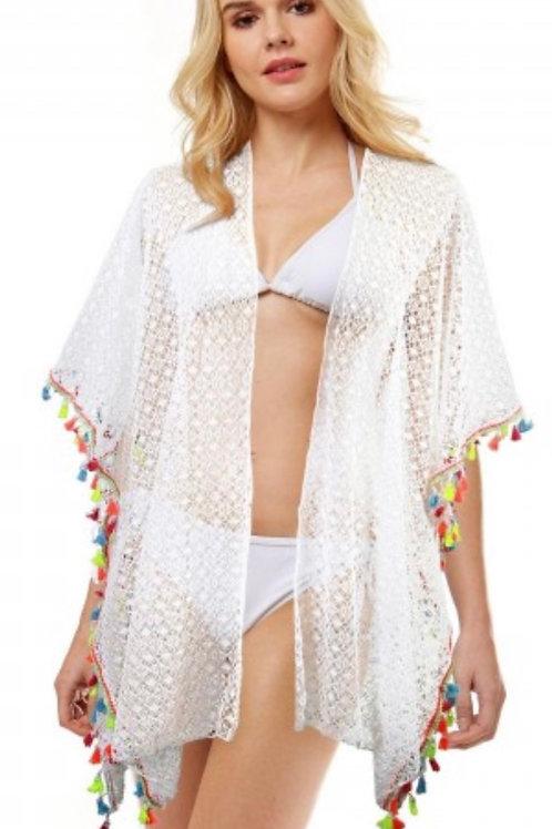 Multi Tassel crochet lace cover up - white