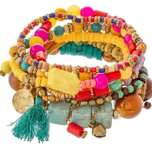 Multi beaded tassel charm stackable stretch bracelet