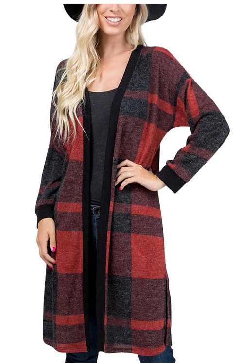 Plaid cardigan with side slits-red/black