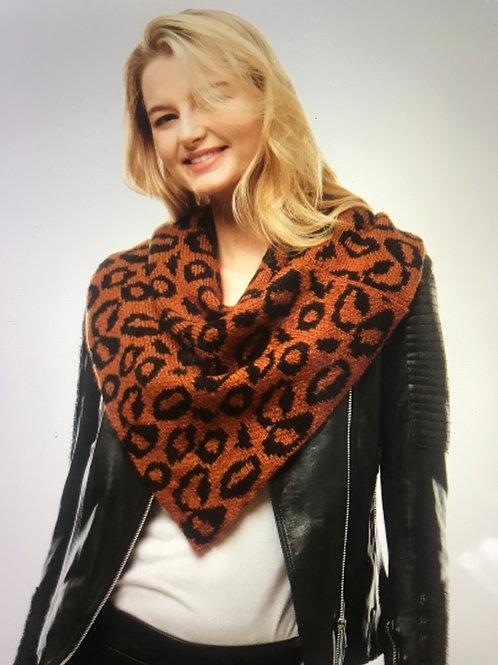 Knit bib scarf-nutmeg