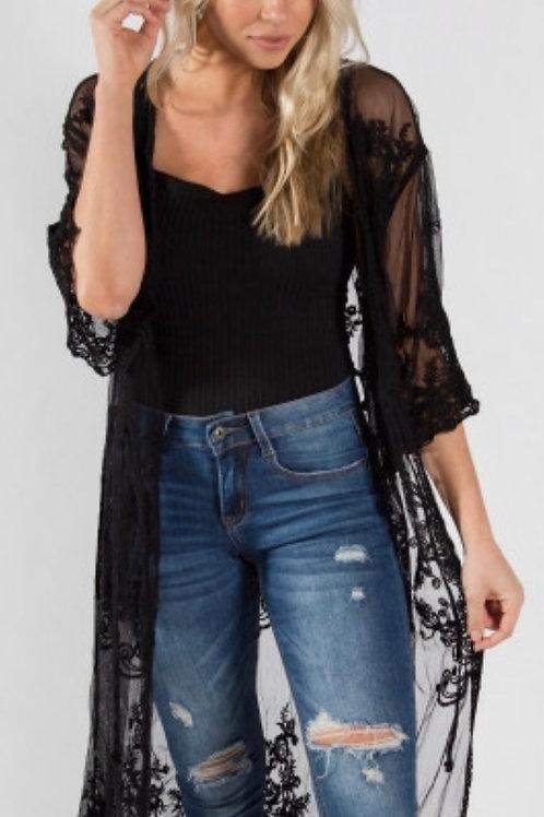 Lightweight black lace kimono