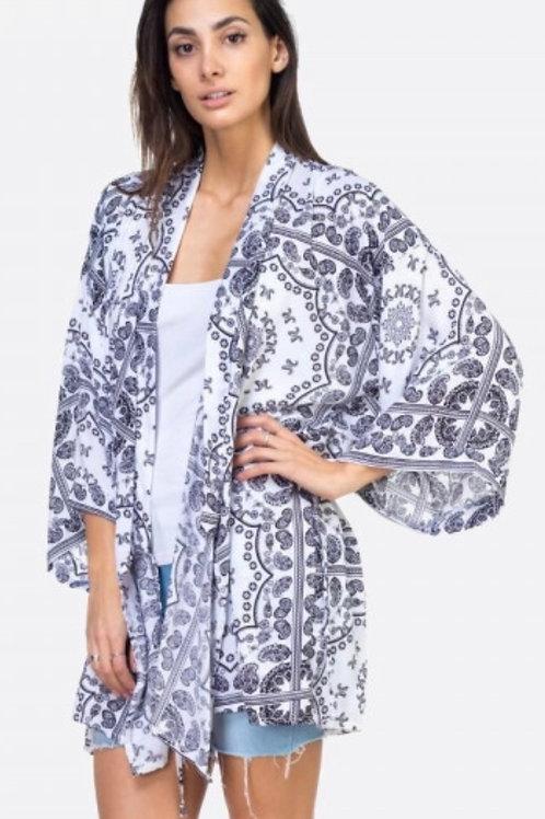 Kimono jacket-wht/blk