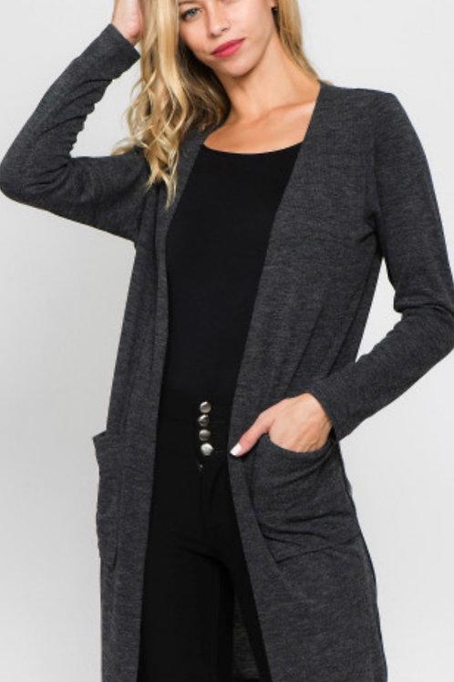 Thin soft knit cardigan w/ pockets - charcoal