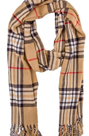 Soft long fringe scarf - tan plaid