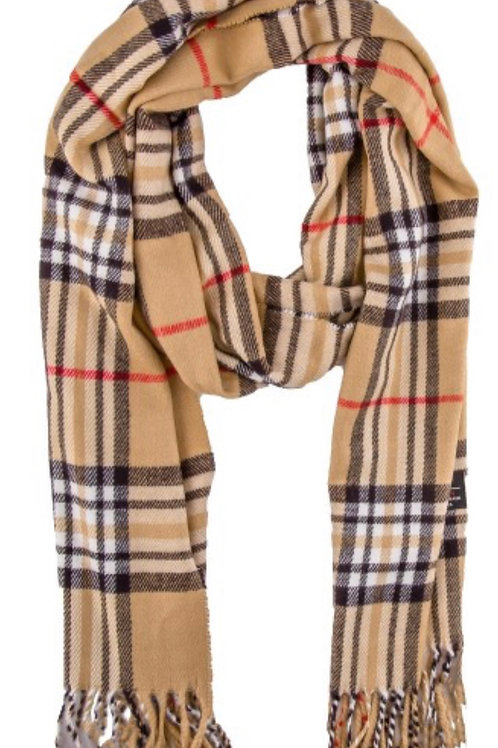 Soft long fringe scarf - tan plaid