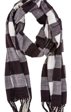 Soft long fringe scarf - wht/blk buffalo check