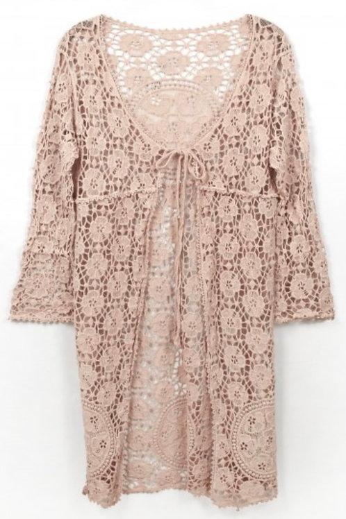 "Crochet lace 40""L Kimono-dusty pink"