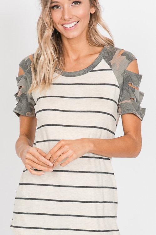 Striped/camo Tshirt w/ slit sleeves