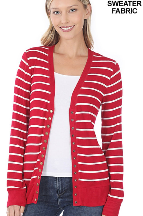 Snap button cardigan-red/wht striped