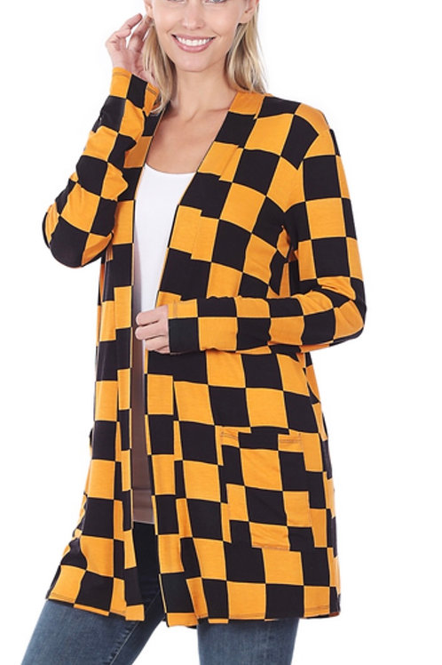 Checkered mid thigh cardigan-gold/black