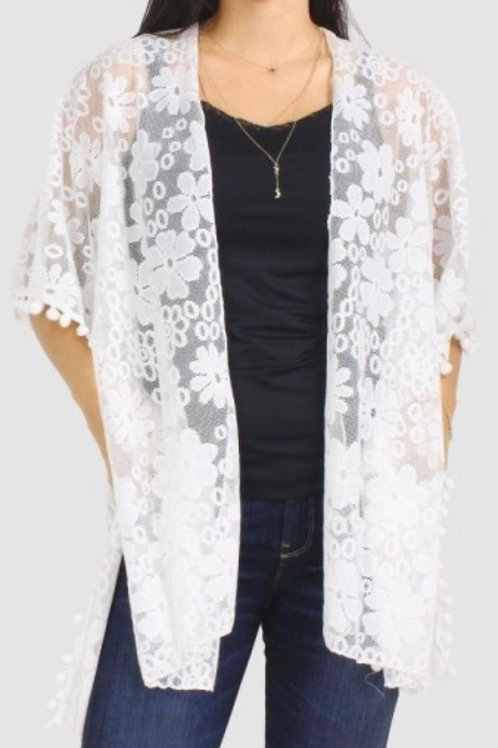Floral lace kimono w/ pom pom detail-white