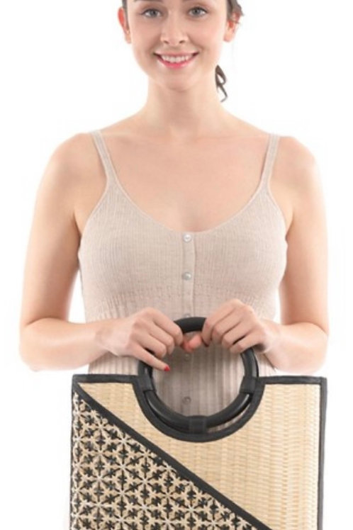 Wicker basket handbag-Black