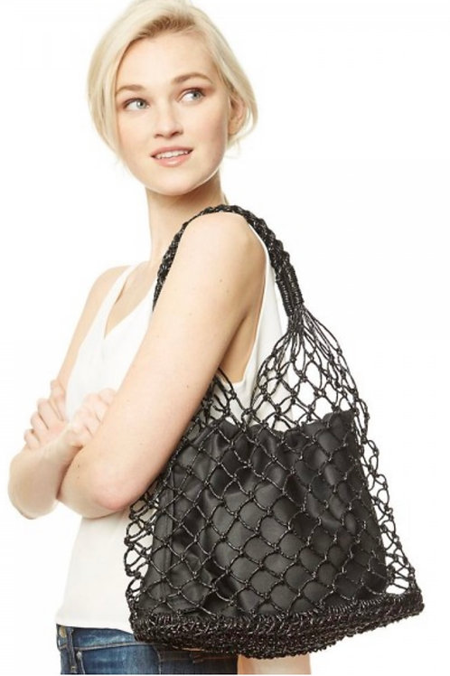 Raffia twine drawstring sack handbag