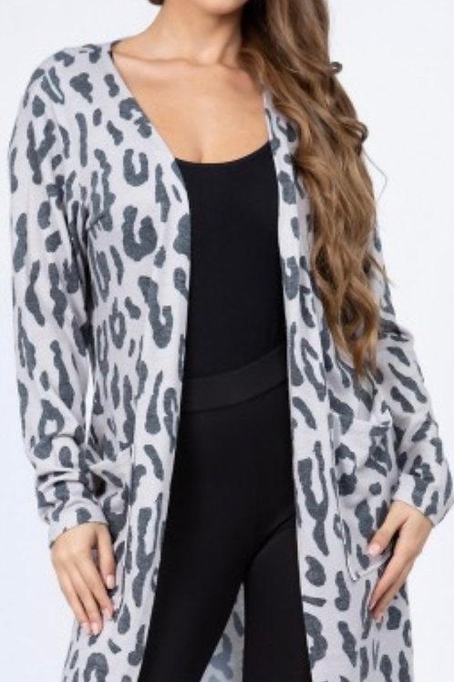 Light weight leopard cardigan-gray/tan