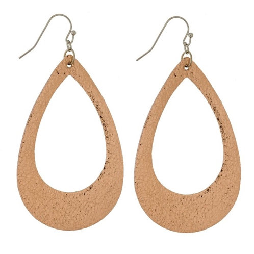 "Lightweight 2.5"" faux leather teardrop earrrings-rose gold"