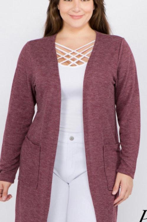 Thin soft knit cardigan - Wine