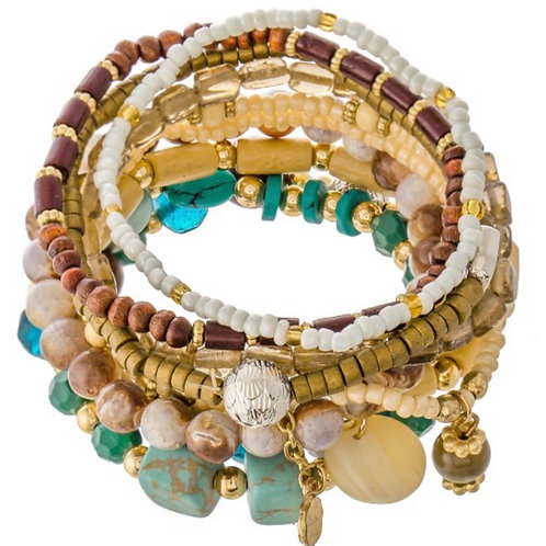 Wood beaded boho charm stacking stretch bracelet-turq