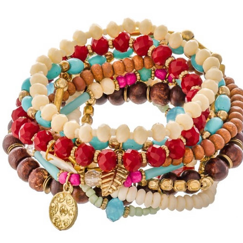 Wood beaded boho charm stacking stretch bracelet