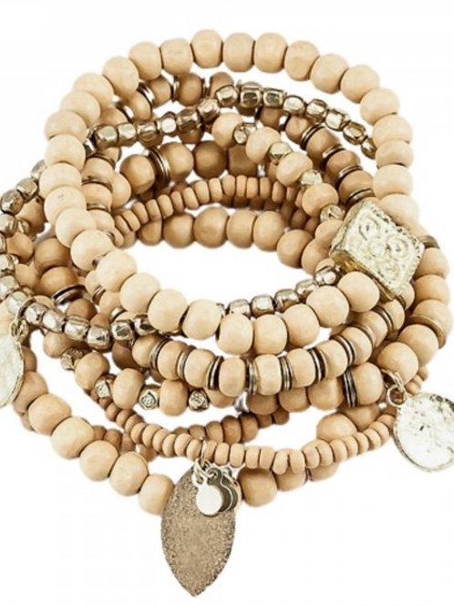 Wood beaded boho charm stacking stretch bracelet