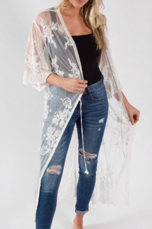 Lightweight cream lace kimono