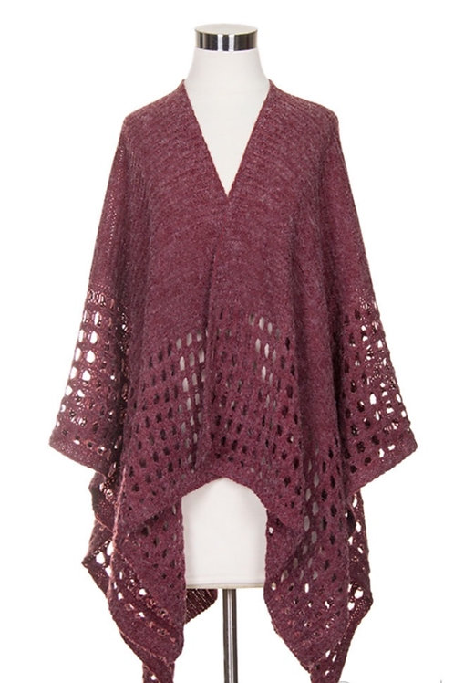 Burgundy cape w/cut out squares along bottom