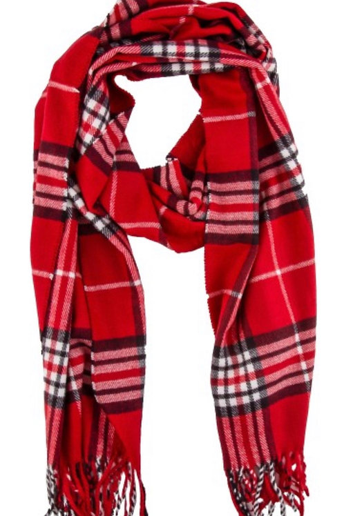 Soft long fringe scarf - rd plaid