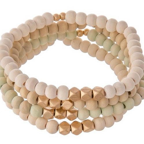 Natural Wood beaded stacking stretch bracelet