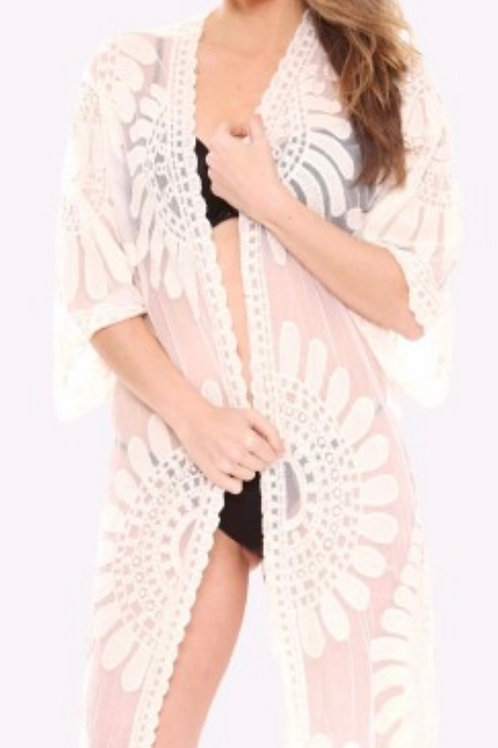 Mesh flower patterned duster-cream