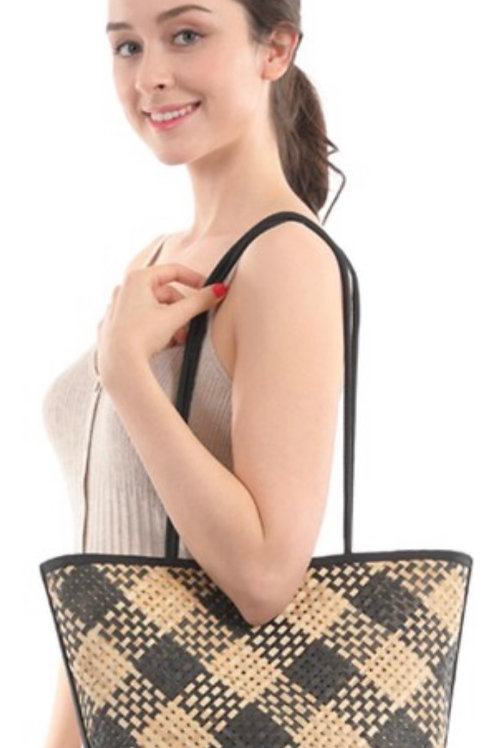 Wicker basket long handled handbag