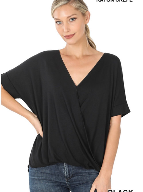 Crepe layered-look draped front top-black