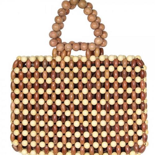 Small light brown beaded handbag