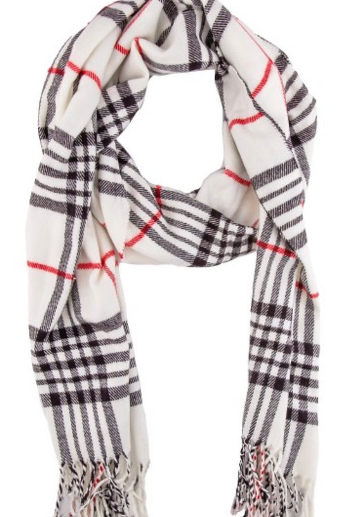 Soft long fringe scarf - wht plaid