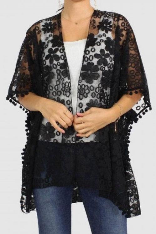 Floral lace kimono w/ pom pom detail-black