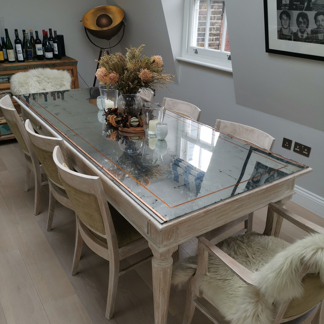 Marylebone Gilded Glass Table Top And Wood Paint Effect
