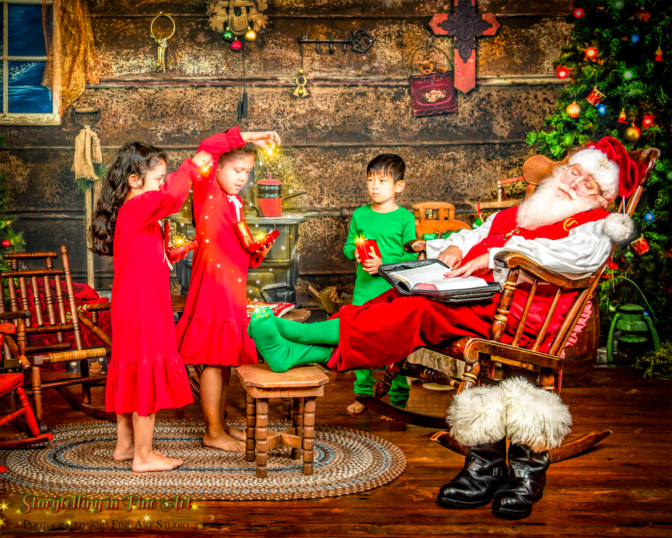 Children using magic to wake Santa