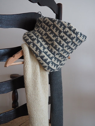 Chunky Scarf, Grey and Cream