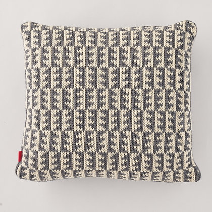 Knitted Cushion, Grey and Cream