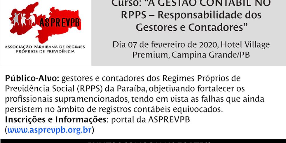 """Curso: """"A GESTÃO CONTÁBIL NO RPPS – Responsabilidade dos Gestores e Contadores"""""""